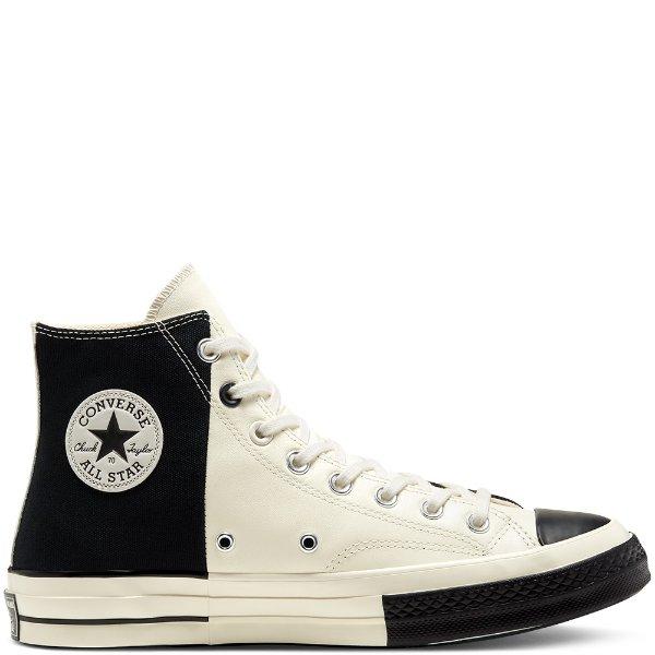 黑白拼接帆布鞋