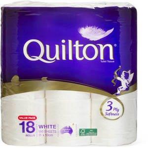 $8 部分店铺有货 速入!Quilton 3 Ply 卷筒纸 18 Pack大容量补货