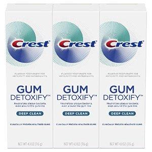 $9.99(原价$11.99)Crest Gum Detoxify 深层清洁牙膏 4.1oz x 3支
