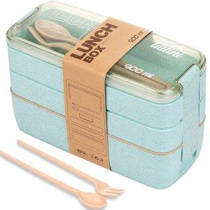 闪购:TARLINI 日式3层便当午餐饭盒,薄荷绿