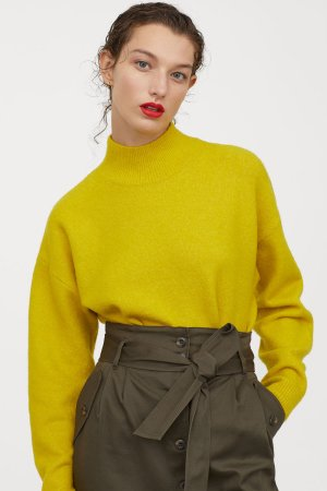 Knit Mock-turtleneck Sweater - Yellow - Ladies | H&M US