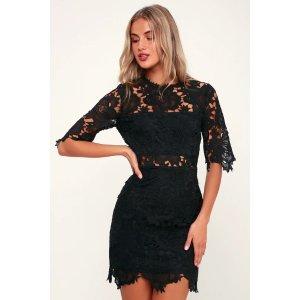 LULUSA Fine Romance Black Lace Sheath Dress