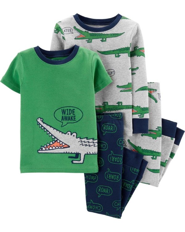 婴儿鳄鱼全棉紧身睡衣4件套