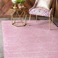 Unique Loom 几何图案装饰地毯 4X6 粉色