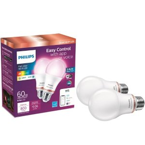 $19.48Philips 60-Watt Equivalent A19 WiZ Connected Color Smart LED Bulb