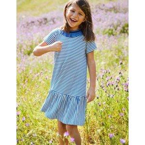 BodenRuffle Neck Jersey Dress - Duke Blue/Ivory | Boden US