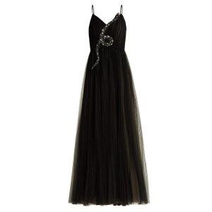 Valentino黑色吊带长裙