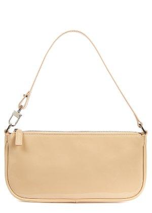 BY FAR Rachel taupe patent leather shoulder bag - Harvey Nichols