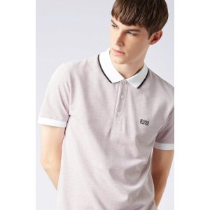 BOSS- Regular-fit polo shirt in micro-patterned cotton pique