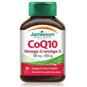 $10.98(原价$18.29)Jamieson 健美生 辅酶Q10 带 Omega-3 胶囊30粒