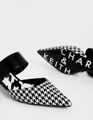 Multi Houndstooth Print Woven Fabric Mules | CHARLES & KEITH US