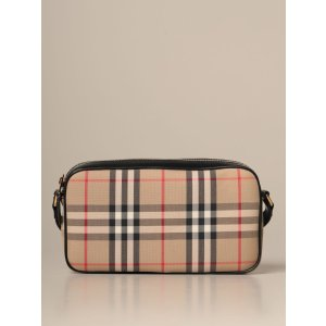 Burberryshoulder bag in check canvas and leather