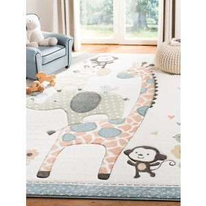 Safavieh满$100享额外8折动物图案 童趣地毯