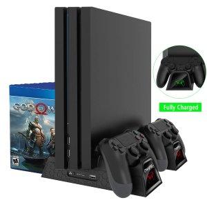 $19.59 (原价$27.99)PS4 Slim / Pro 散热支架 + 手柄充电器 + 游戏收纳架 三位一体