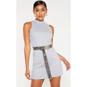PrettyLittleThingGrey Marl Sleeveless Oversized T Shirt Dress