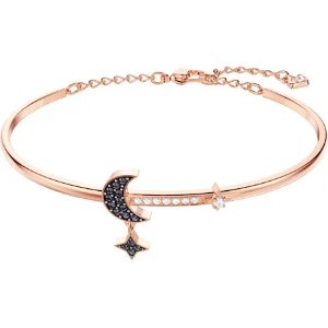 SwarovskiSymbolic Moon Bangle, Black, Rose-gold tone plated by SWAROVSKI