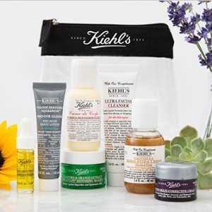 Get 4 deluxe samples and a clear mini travel bagon purchase $85+ @ Kiehl's