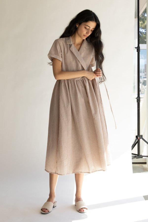 小格纹裹身裙