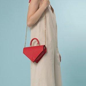 几何形单肩包(红色)