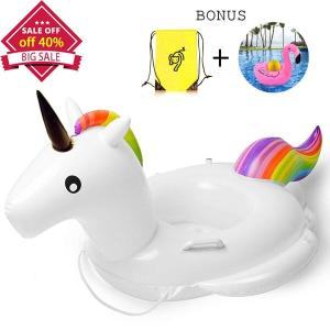 $9.99(原价$16.99)闪购:Whiteleopard 独角兽 水上漂浮玩具+充气饮料架+收纳袋套装