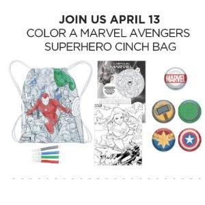 4月13日儿童免费制作复仇者背袋自填色预告:JCPenney 儿童区免费手工活动