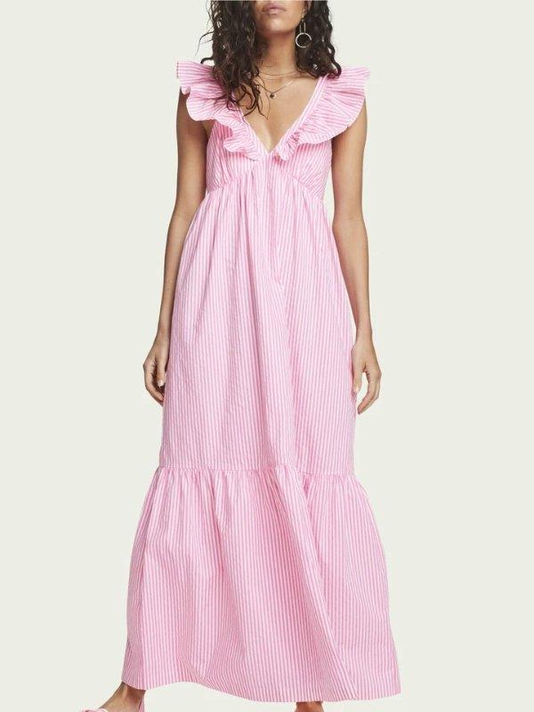 荷叶边连衣裙