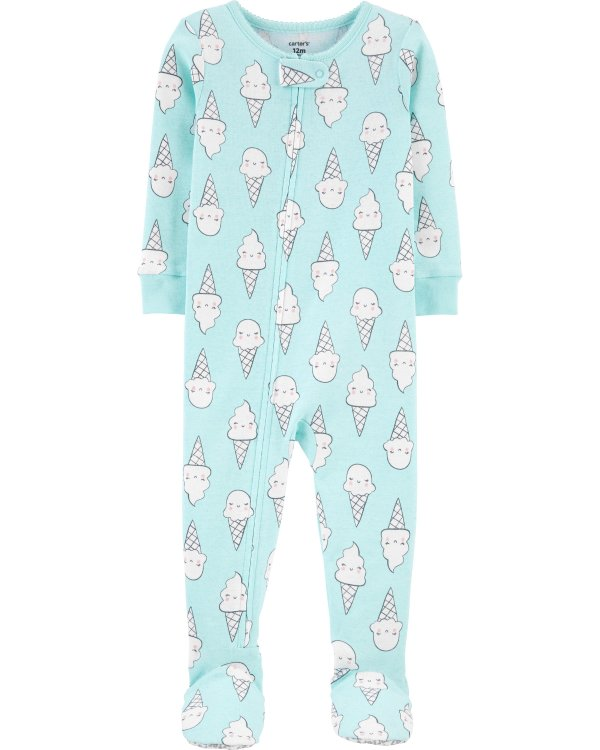 婴儿冰激凌图案包脚连体衣