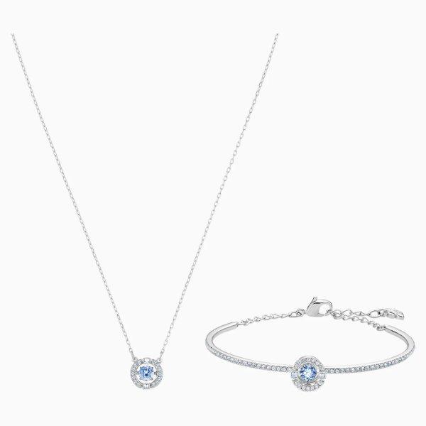 跳动的心蓝色项链+手环