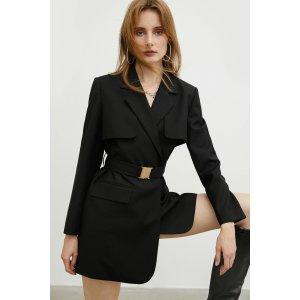 J.INGMilitary Black Belted Jacket
