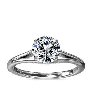 Blue NileMonique Lhuillier Siren Solitaire Split Shank Engagement Ring with Diamond Details in Platinum