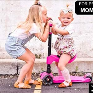 蓝色再降$49.95,其余$59.95Lascoota 2合1 儿童闪光滑板车+平衡车,座椅可拆卸