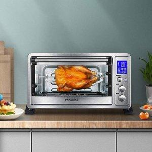 $89.99(原价$120.59)史低价:Toshiba AC25CEW-SS 9合1 空气对流 智能不锈钢烤箱