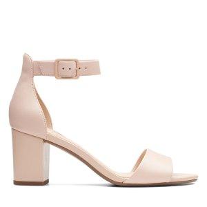 Clarks粉色粗跟凉鞋
