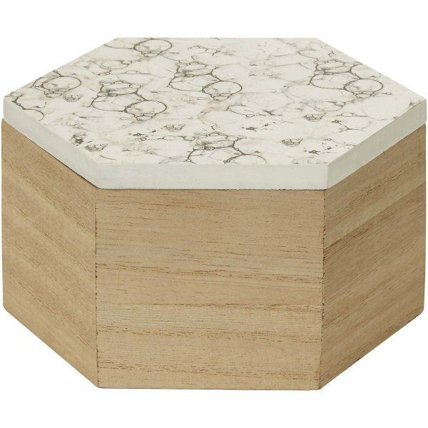 Mimo六角形小饰品盒-白色人造大理石