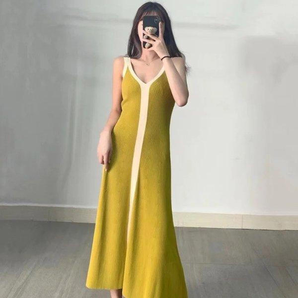 V领吊带连衣裙