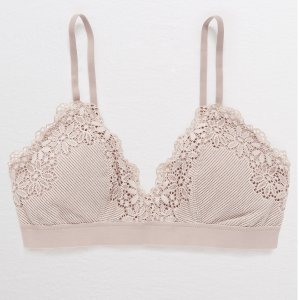 AEOBuy One Get One FreeAerie Ribbed Lace Padded Bralette