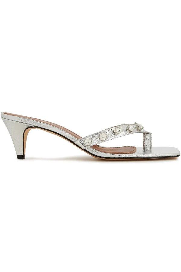 水晶银色穆勒鞋