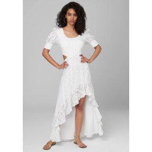BebeClubbebe exclusive 30% off $250  SEPT30Eyelet Cutout Hi-Lo Dress