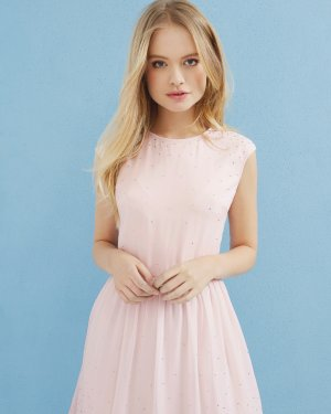 Embellished scallop hem dress - Baby Pink | Dresses | Ted Baker