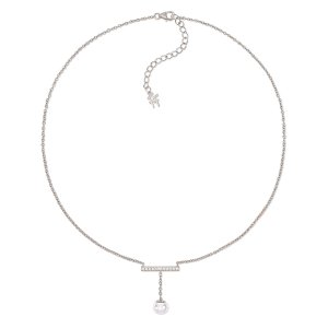 ACRO BALANCE RHODIUM PLATED SHORT NECKLACE