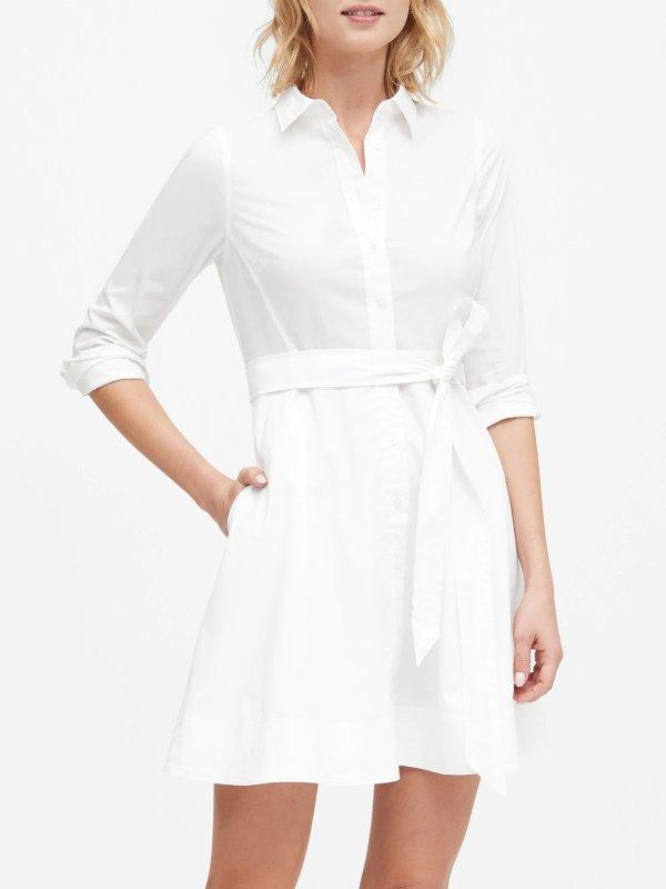 系带衬衫裙