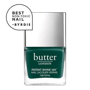 Butter London单品加入两件,第二件免费Across The Pond Patent Shine 10X Nail Lacquer——森林绿