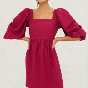 BA&SH5折!码全,2色可选泡泡袖连衣裙