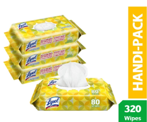 $6.86(原价$19.99)逆天价:Lysol  柠檬香型消毒纸巾 4包 共320片