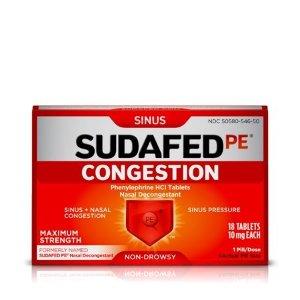 Sudafed PE 通鼻塞片剂,18 ct