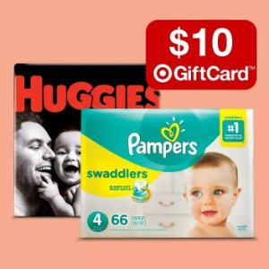 Buy 2 get a $10 gift card ontarget Huggies or Pampers super-pack diapers