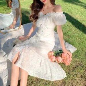 95%混合纤维露肩仙女连衣裙