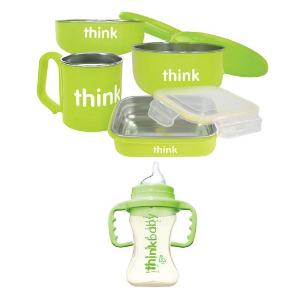$39.99(原价$59.99)Thinkbaby 双层不锈钢儿童餐具5件套(绿色款)