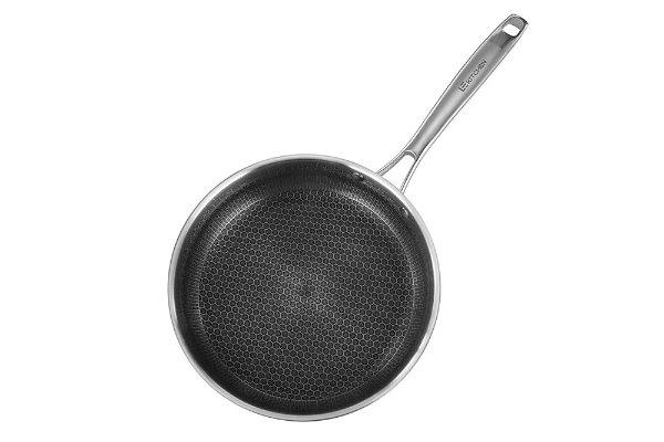 304食用级不锈钢蜂窝纹陶晶不粘锅 24cm平底煎锅