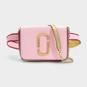 Marc JacobsHip Shot Belt Bag in Baby Pink and Red Leather with Polyurethane Coating